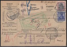 DR Paketkarte Für 2 Pakete Mif Minr.87I,90I,94I Barmen-Wichlingshausen 8.12.11 Gel. In Schweiz - Deutschland