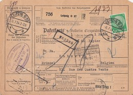 DR Paketkarte Mif Minr.2x 364,468,526 Leipzig 6.7.34 Gel. Nach Belgien - Briefe U. Dokumente