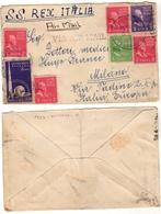 Storia Postale Aerea - Nave SS. REX Italia - Busta Con 7 Francobolli USA Del 1939 - Etats-Unis