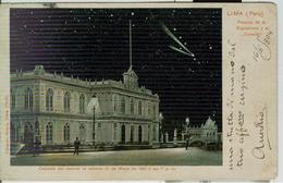"LIMA (PERU')-PALACIO DE LA EXPOSICION Y EL""COMETA""-POSTAL BLANCA / NEGRA, 1904, PARA CAMOGLI (ITALIA) -TIMBRO TONDORIQUA - Perù"