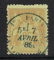 RARE OBLITERATION CAD BLEU De PARIS 1° LA VILETTE (BUREAU SUBURBAIN) 1885 Sur TYPE SAGE 25c JAUNE - 1876-1898 Sage (Type II)