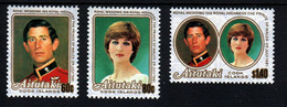 Aitutaki Cook Islands Mariage Prince Charles Lady Diana Timbres Neufs Sans Charnière N° 409 à 411 ; Yv 301 à 303 - Aitutaki