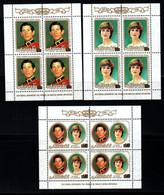 Aitutaki Cook Islands Mariage Prince Charles Lady Diana Blocs Feuillets Neufs Sans Charnière N° 409 à 411 ; Yv 301 à 303 - Aitutaki