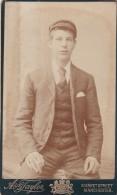 ANTIQUE CDV PHOTO  - YOUNG MAN WEARING CAP,     MANCHESTER  STUDIO - Photographs