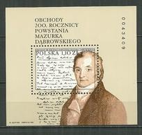POLAND MNH ** Bloc 141 Hymne National DABROWSKI MAZURKA Musique Musicien - Blocks & Sheetlets & Panes