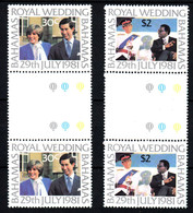 BAHAMAS Mariage Prince Charles Lady Diana Paire Avec Pont Neufs Sans Charnière N° 480 à 481 ; Yv 478 / 479 - Bahamas (1973-...)