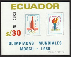 Ecuador / Olympic Games Moscow 1980 / Torch / Mi Bl 96 / MNH - UMPERFORATED - Sommer 1980: Moskau