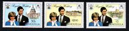 ANGUILLA Mariage Prince Charles Lady Diana  Neufs Sans Charnière N° 442 à 444 ; Yv 409 / 411 - Anguilla (1968-...)