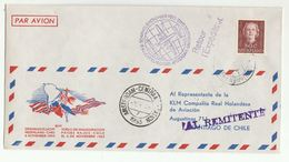 1942 FIRST FLIGHT COVER  To SANTIAGO KLM From Amsterdam  Netherlands To Chile  Stamps  Aviation - Period 1949-1980 (Juliana)