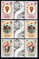 Cayman Islands Mariage Prince Charles Lady Diana Paires Avec Pont Neufs Sans Charnière N° 475 à 477 ; Yv 478 / 480 - Iles Caïmans