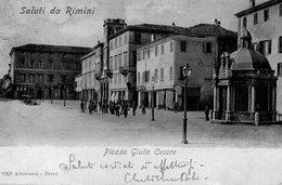 CARTOLINA DI RIMINI PIAZZA G. CESARE  VIAGGIATA 1910 - Rimini