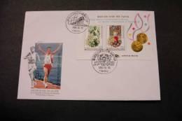 Korea 1685b Olympic Marathon Winners Souvenir Sheet 1992 With Day Of Issue Cancel Some Minor Crease UL A04s - Korea, South