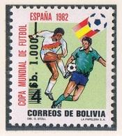 Soccer Football Bolivia #1013 Ovpt 1982 World Cup Spain MNH ** - 1982 – Spain
