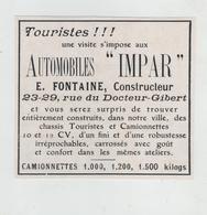 Automobiles Impar Fontaine Constructeur Camionnettes Rue Docteur Gibert - Werbung