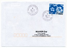 """POLYNESIE FRANCAISE - Enveloppe Affr. Pareo Oblitéré """"MOERAI-RURUTU  AUSTRALES"""" 30-12-2011 - Lettres & Documents"""