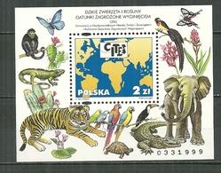 POLAND MNH ** Bloc 153 Faune Flore Fleur Animaux Tigre élépahnt Oiseau Papillon Singe Tortue - Blocks & Kleinbögen