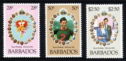 BARBADOS Mariage Prince Charles Lady Diana  Neufs Sans Charnière N° 528 à 530 ; Yv 521 / 523 - Barbades (1966-...)
