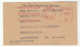 1977 OHMS British Forces GERMANY MESSERSCHMITT BOLKOW BLOHM Meter OTTOBRUNN CSDE PROJECT MUNICH To RAF RHEINDAHLEN Cover - [7] Federal Republic