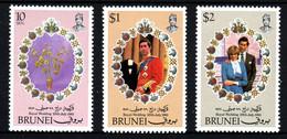 BRUNEI Mariage Prince Charles Lady Diana  Neufs Sans Charnière N° 271 à 273 ; Yv 270 / 272 - Brunei (1984-...)