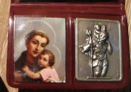 """Pochette Plastique, Saint Antoine, Médaille Et  étiquette """"Je Suis Catholique; En Danger De Mort, Je Demande Un Prêtre"""" - Religión & Esoterismo"""