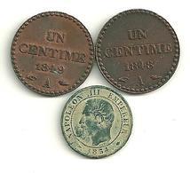 Lot 3 X 1 Centime Dupré Et Napoléon III - Francia