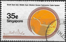 SINGAPORE 1986 SEA-ME-WE Submarine Cable Project - 35c Map Showing Route Of Cable And Vercors (cable Ship) FU - Singapour (1959-...)
