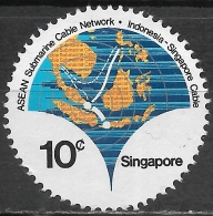 SINGAPORE 1980 A.S.E.A.N. Submarine Cable Network - 10c Map Of South East Asia Showing Cable Network FU - Singapour (1959-...)