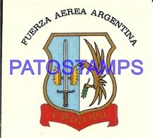 97770 AVIATION AVIACION FUERZA AEREA ARGENTINA HERALDRY CALCO STICKER 7 X 6 CM NO POSTAL POSTCARD - Transports
