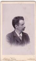 ANTIQUE CDV PHOTO -MOUSTACHED MAN,  AARHUS  STUDIO - Photographs