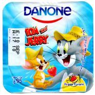 "Opercule Cover Yaourt Yogurt "" Danone "" Tom & Jerry 1 French Disney Banan  Banana  Yoghurt Yoghourt Yahourt Yogourt - Opercules De Lait"