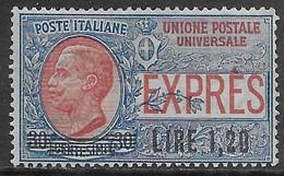 Italia Italy 1921 Regno Espresso Leoni Soprastampato L1,20 (expres) Sa N.E5 Nuovo MH * - 1900-44 Vittorio Emanuele III