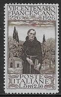 Italia Italy 1926 Regno San Francesco L5+L2.50 Sa N.197 Nuovo MH * - Nuovi