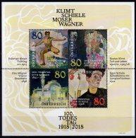 2018 Austria - 100 Years Of Death Of G.Klimt, E.Scheile,  K.Moser, O.Wagner -MS -  MNH** MiNr. B 101 (rg) - 1945-.... 2ème République
