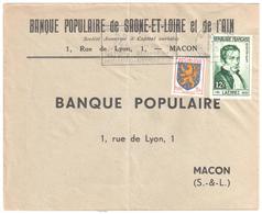 MACON GARE Lettre 12 F LAENNEC 3 F Blason Franche Comté Yv 903 936 Ob 13 9 1956 - France
