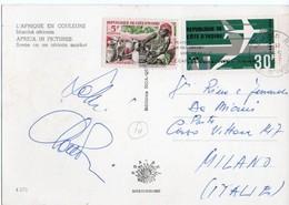 L'AFRIQUE EN COULEURS - MARCHE' AFRICAIN/MARKET / COTE D'IVOIRE THEMATIC STAMPS-AIR AFRIQUE / DC-8 - Costa D'Avorio