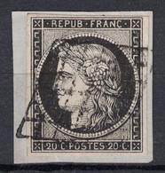 TRES JOLI TIMBRE CERES N° 3 (NUANCE NOIR SUR BLANC 3a) Sur PETIT FRAGMENT Avec BELLE OBLITERATION - 1849-1850 Ceres