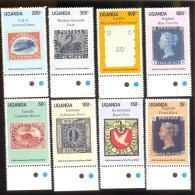 UGANDA SCOTT MINT N H # 789-96  (  STAMPS ON STAMPS - Uganda (1962-...)
