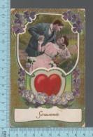 Couple  - CPA 1911, Embossée Et Dorrure, Souvenir, Couple Sur Un Hamac, Coeur - Couples