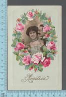 Couple  - RARE, CPA Trois Morceaux, Photo Appliqué Sur Une Carte Entouré D'un Decoupis De Fleurs - Couples