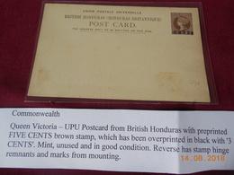 Carte Entier Postal Du Honduras Britannique Avec Surcharge. - British Honduras (...-1970)