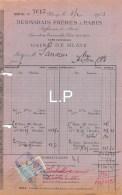 7-1587    FACTURE  1912 USINE DE BLAYE DESMARAIS FRERES A PARIS - M. SARRAZIN A PONS - France