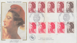 Enveloppe  FDC  FRANCE  Bandes  De  Carnets  Type  LIBERTE  De  DELACROIX   1987 - 1980-1989