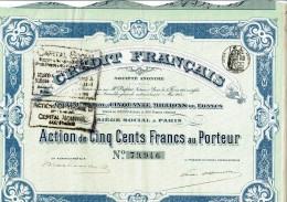 75-CREDIT FRANCAIS. Action 1913. Capital 50 MF. - Aandelen