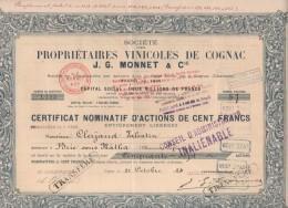 16-PROPRIETAIRES VINICOLES DE COGNAC. J.G. MONNET & Cie. 1920. Capital 2 MF - Aandelen
