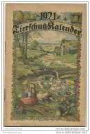 Tierschutz Kalender 1921 - 50 Seiten Kalender Gedichte Geschichten - Herausgegeben Vom Berliner Tierschutz-Verein - Calendars