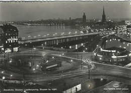 Stockholm Sweden.  Slussen By Night. . Sent To Denmark 1961  # 07856 - Sweden