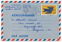 Aérogramme 1,15 Logo - Centenaire De La Poste Par Ballons Montés - 1971 - Entiers Postaux