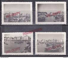 Au Plus Rapide Saint Jean De Luz Le Port En 1950 Bateau Pêche Ensemble 4 Photos - Boats