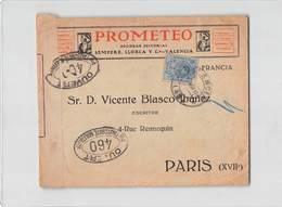 15455 PROMETEO VALENCIA TO PARIS - CENSOR - 1889-1931 Regno: Alfonso XIII