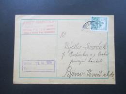Böhmen Und Mähren 1939 Postkarte Firmenkarte Josef Barcuch Potec. Interessante Karte! - Briefe U. Dokumente